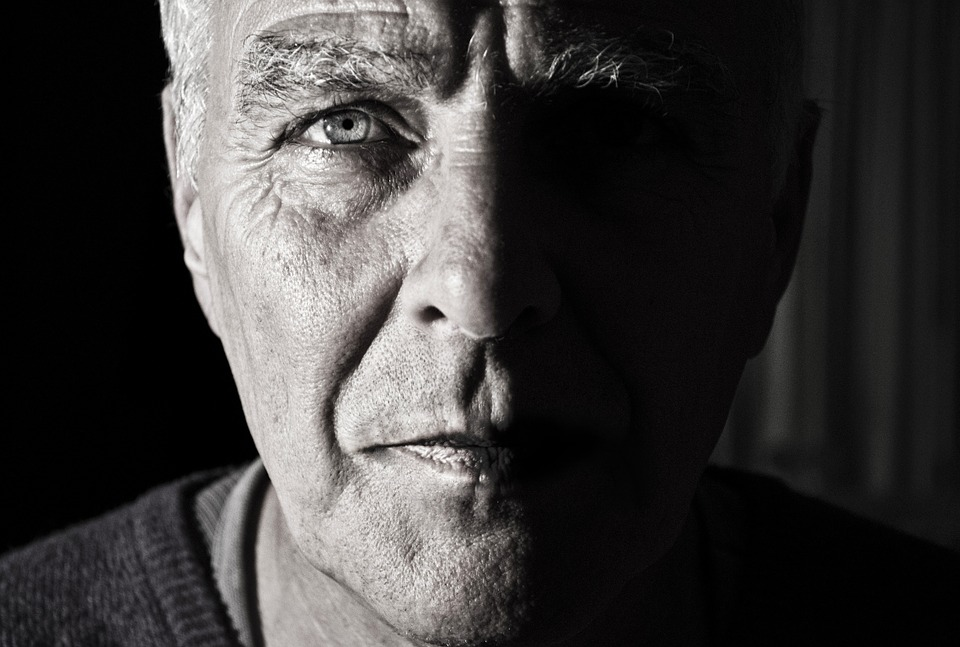black and white old man