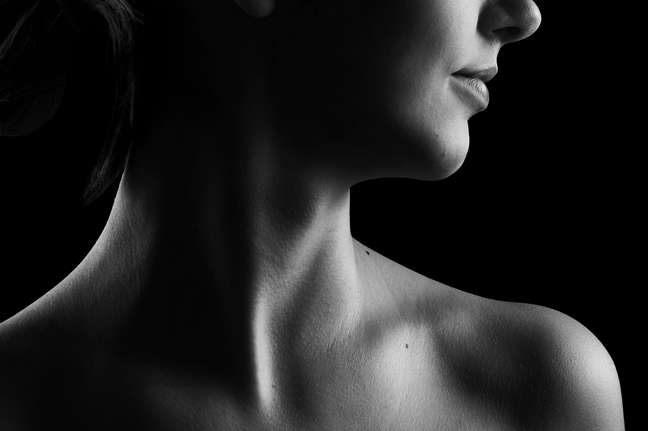 neck of a beautiful young woman