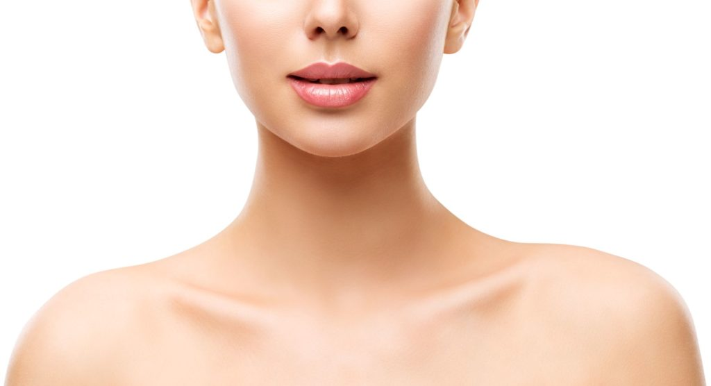 Model Face Lips Neck and Shoulders Isolated over White Background